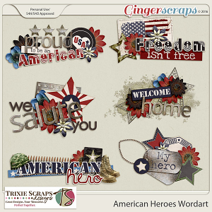 American Heroes Wordart by Trixie Scraps Designs