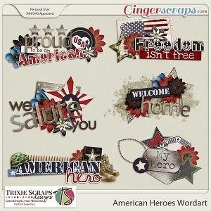 American Heroes Wordart by Trixie Scraps Designs