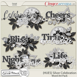 {HUES} Silver Celebration - Word Art