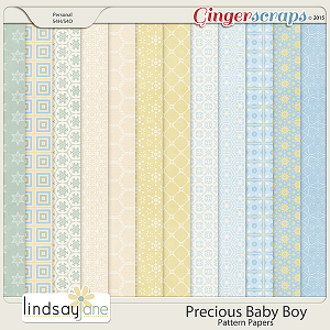 Precious Baby Boy Pattern Papers by Lindsay Jane