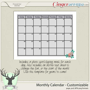 Monthly Calendar-Customizable