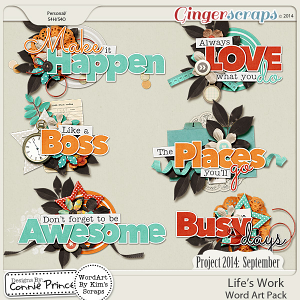 Project 2014 September:  Life's Work - WordArt Pack