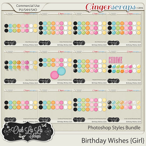 Birthday Wishes Girl CU Photoshop Styles Bundle