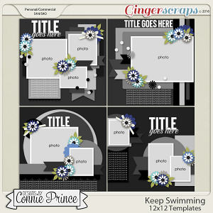 Keep Swimming - 12x12 Templates (CU Ok)