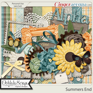 Summers End Digital Scrapbooking Kit