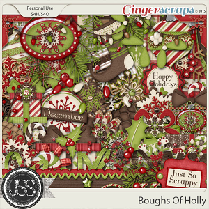 Boughs Of Holly Digital Scrapbooking Kit
