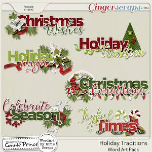 Holiday Traditions - WordArt Pack