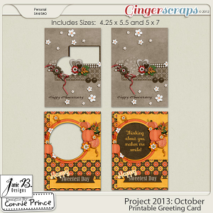 Project 2013:  October - Printable Greeting Cards
