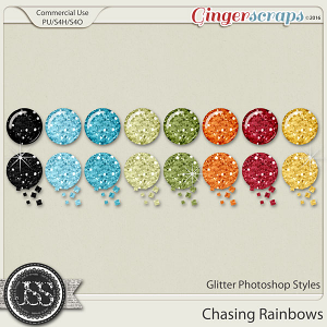 Chasing Rainbows Glitter CU Photoshop Styles