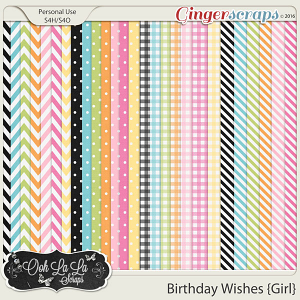 Birthday Wishes Girl Patterned Papers
