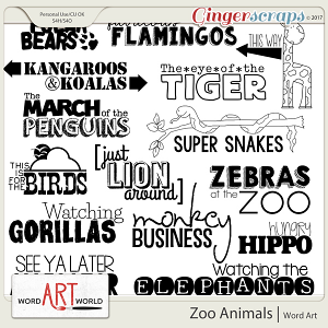 Zoo Animals Word Art