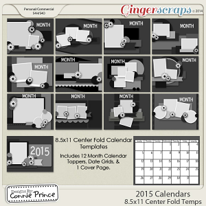 2015 8.5 x 11 Centerfold Calendar Templates (CU OK)
