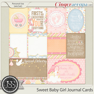 Sweet Baby Girl Journal and Pocket Scrapbooking Cards