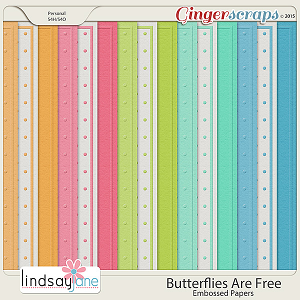 Butterflies Are Free Embossed Papers by Lindsay Jane