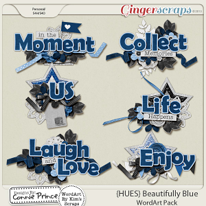 {HUES} Beautifully Blue - WordArt