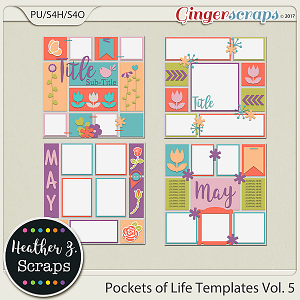 Pockets of Life TEMPLATES Vol. 5 by Heather Z Scraps