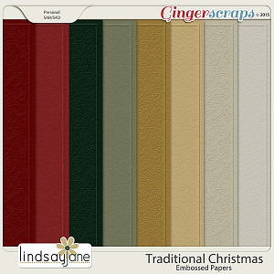 Traditional Christmas Embossed Papers by Lindsay Jane