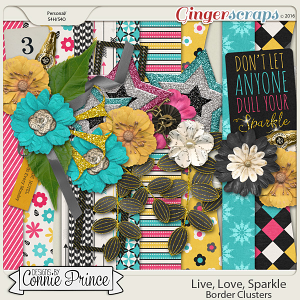 Live, Love, Sparkle - Border Clusters