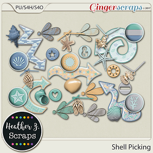 Shell Picking ACCENTS by Heather Z Scraps