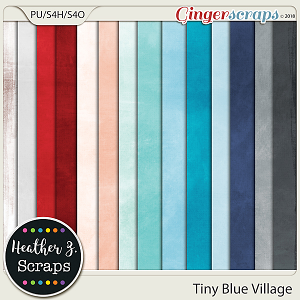 Tiny Blue Village SOLID PAPERS by Heather Z Scraps