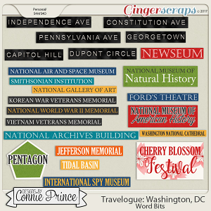 Travelogue Washington, DC - Word Bits