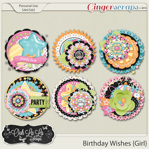 Birthday Wishes Girl Cluster Seals