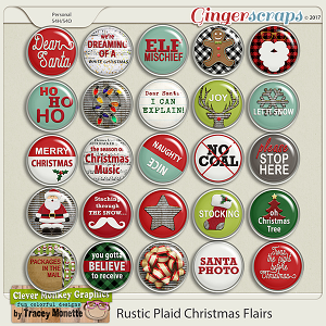 Rustic Plaid Christmas Flairs by Clever Monkey Graphics
