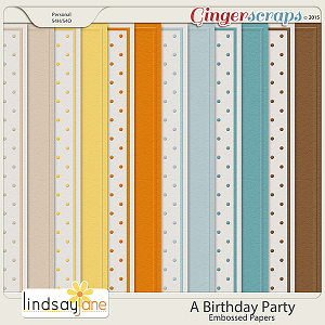 A Birthday Party Embossed Papers by Lindsay Jane