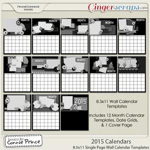 2015 8.5 x 11 Wall Calendar Templates (CU OK)