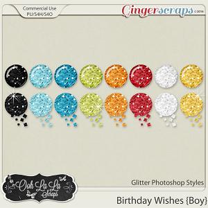 Birthday Wishes Boy Glitter CU Photoshop Styles