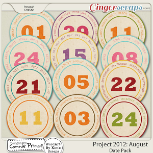 Retiring Soon - Project 2012:  August - Monthly Date Tags