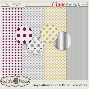 Tiny Patterns 3 CU Paper Templates - Scraps N Pieces