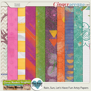 Rain, Sun, Let's Have Fun Artzy Papers by Clever Monkey Graphics & Blue Heart Scraps
