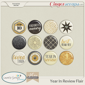 Year in Review Flairs by JoCee Designs and Laurie's' Scraps and Designs