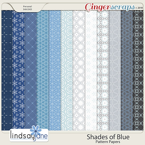 Shades of Blue Pattern Papers by Lindsay Jane