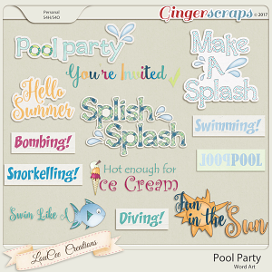 Pool Party Word Art