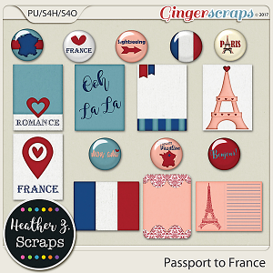 Passport to France JOURNAL CARDS AND FLAIRS by Heather Z Scraps