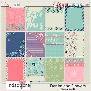 Denim and Flowers Journal Cards by Lindsay Jane