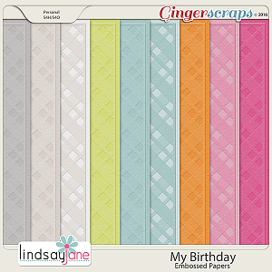 My Birthday Embossed Papers by Lindsay Jane