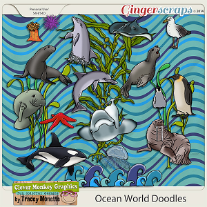 Ocean World Doodles by Clever Monkey Graphics