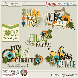 Lucky Boy Wordart by Trixie Scraps Designs