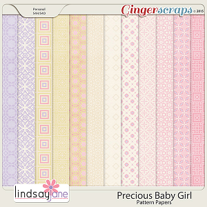Precious Baby Girl Pattern Papers by Lindsay Jane