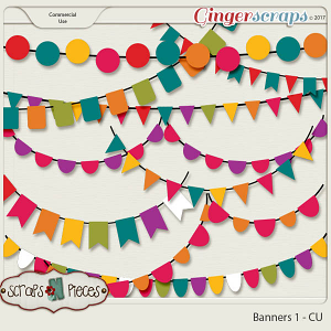 Banners 1 CU Templates - Scraps N Pieces