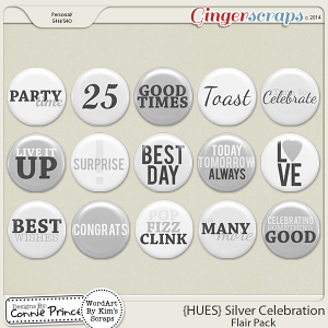 {HUES} Silver Celebration - Flair Pack