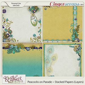 Peacocks on Parade Stacked Papers (layers)