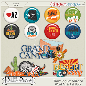 Travelogue Arizona - Word Art & Flair Pack