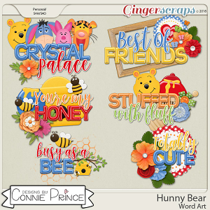 Hunny Bear - WordArt Pack by Connie Prince
