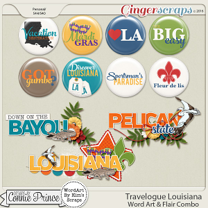 Travelogue Louisiana - Word Art & Flair Pack