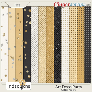 Art Deco Party Glitter Papers by Lindsay Jane