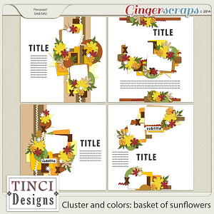 Cluster and colors: basket of sunflowers